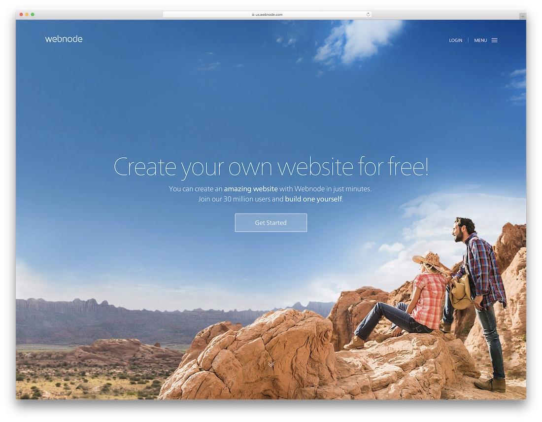 webnode free one page website builder