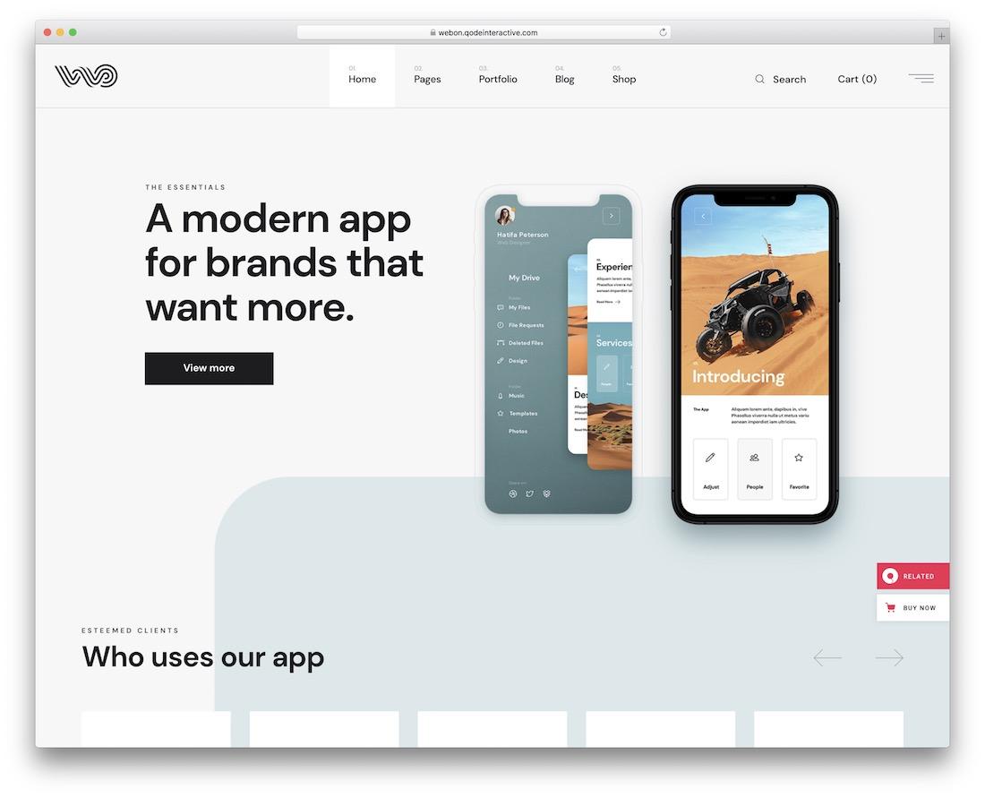 webon app showcase wordpress theme