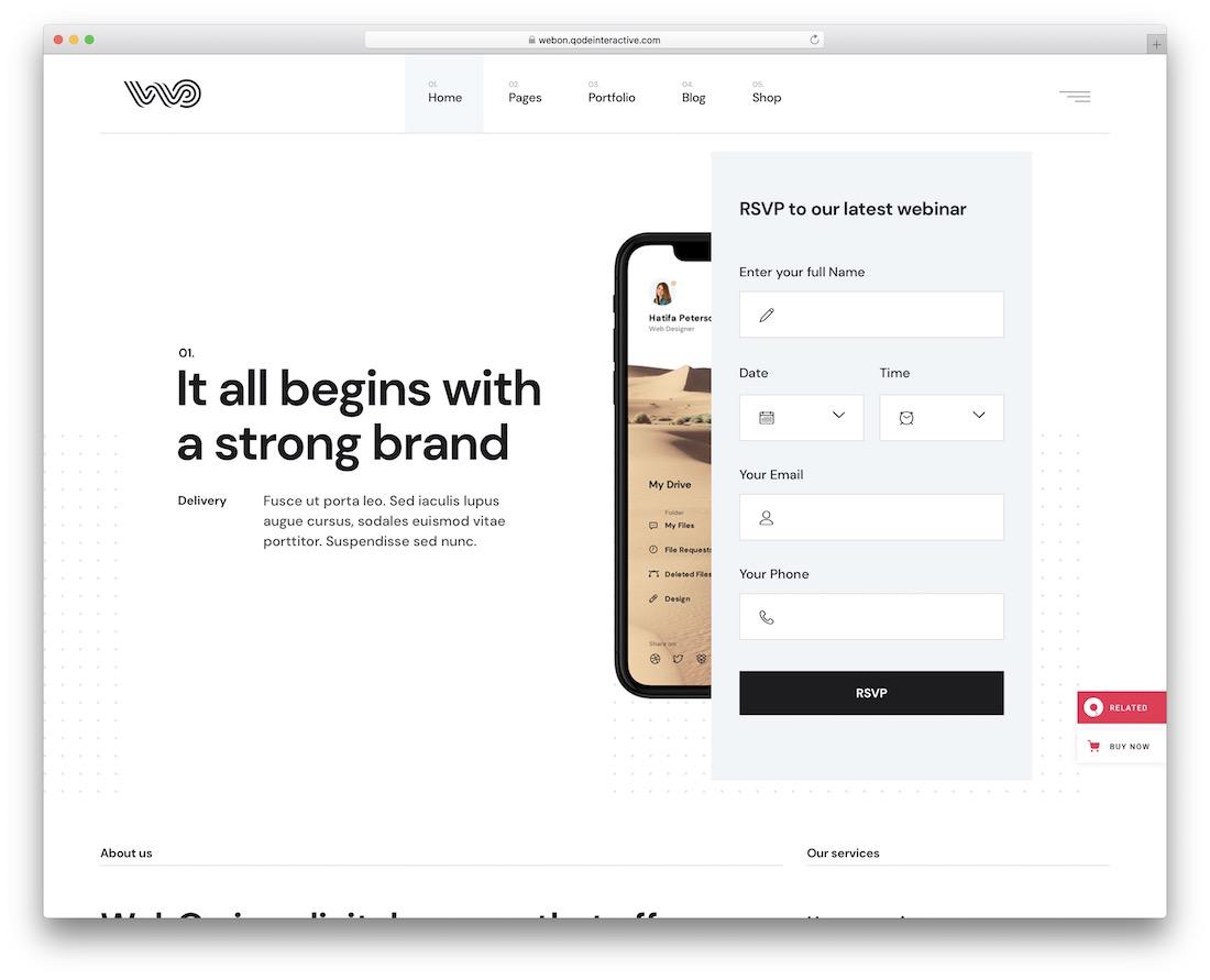 webon clean wordpress theme