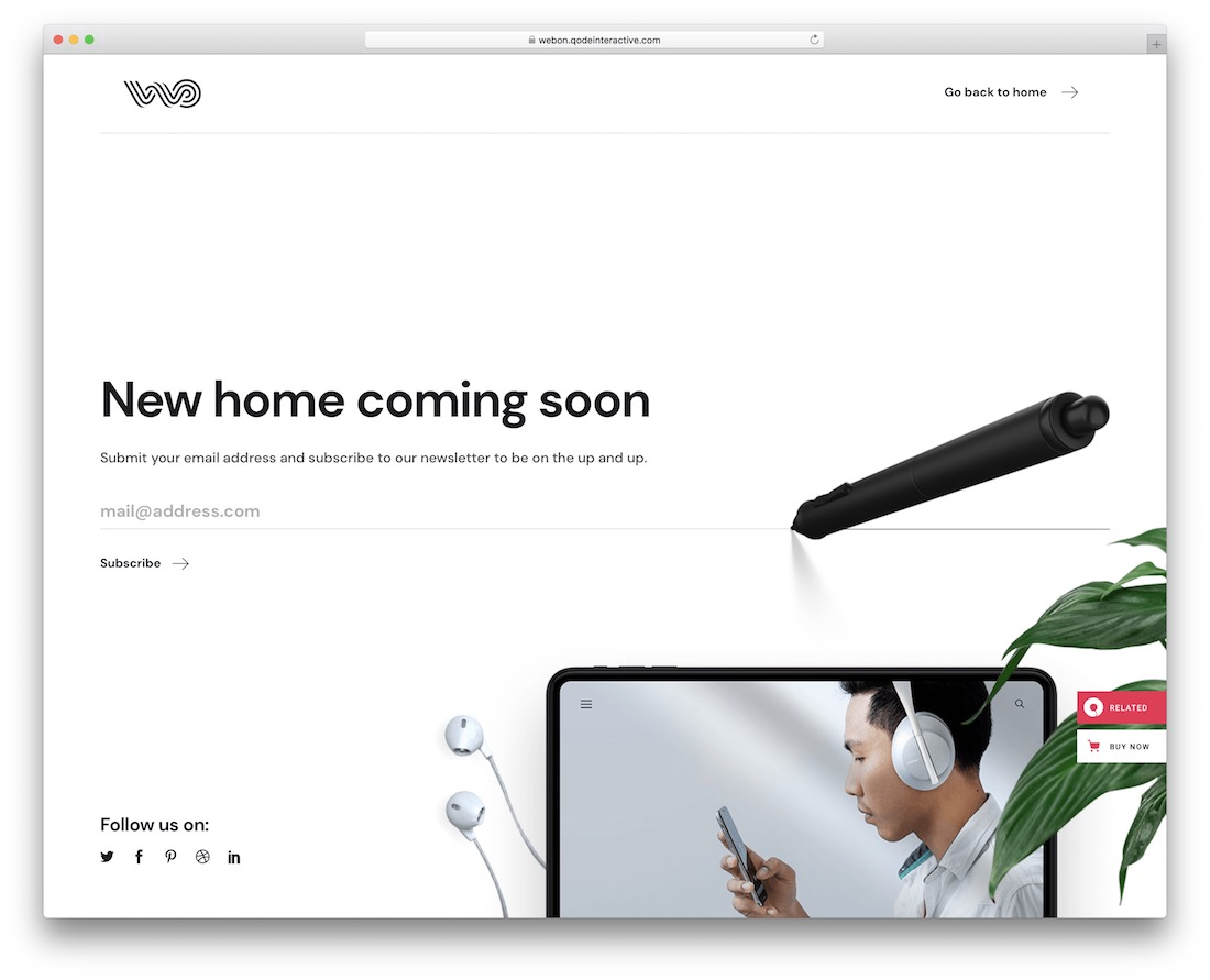 webon coming soon wordpress theme