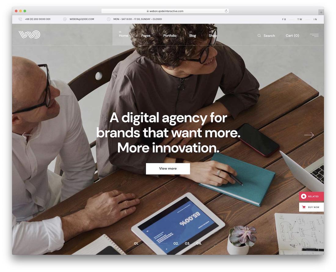 webon sales page wordpress theme