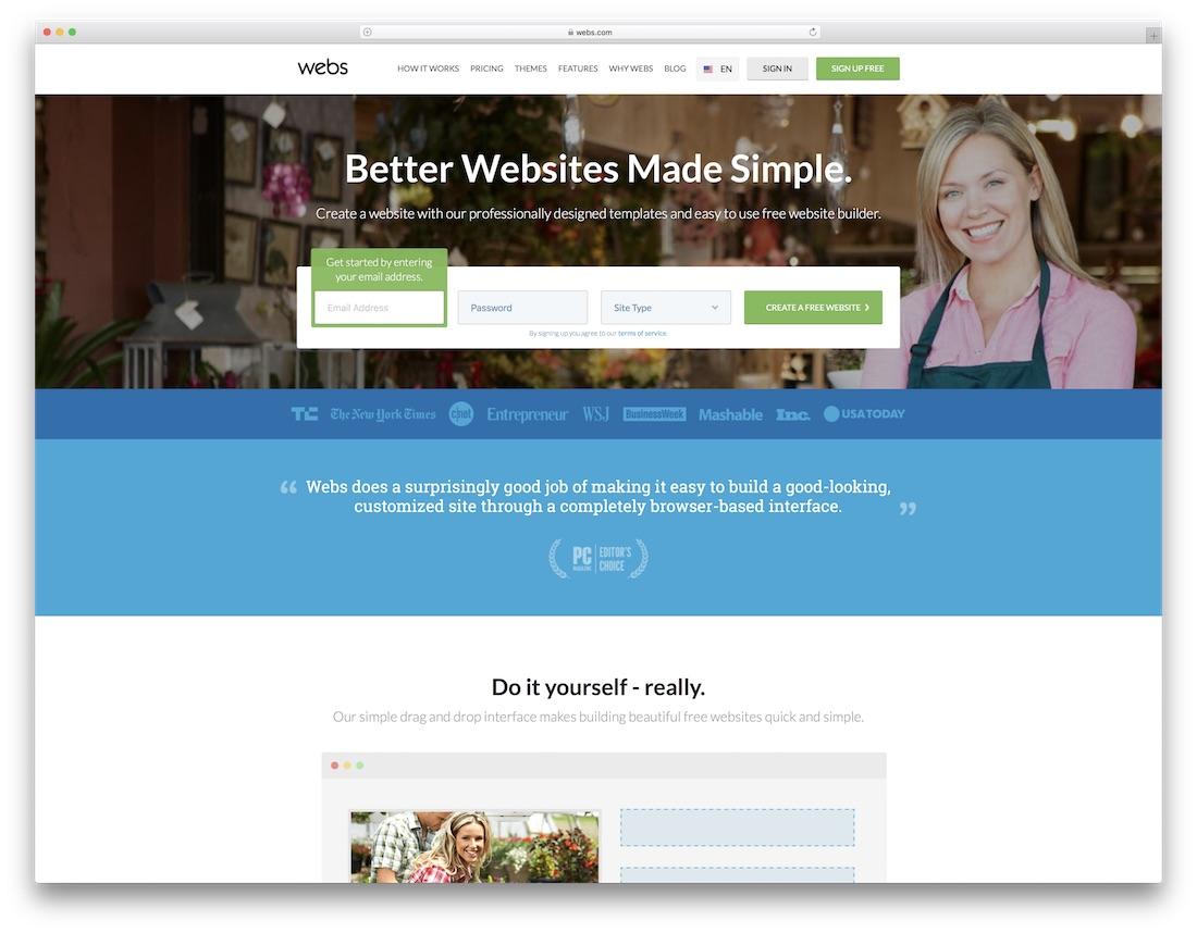 webs website builder for fitness studio