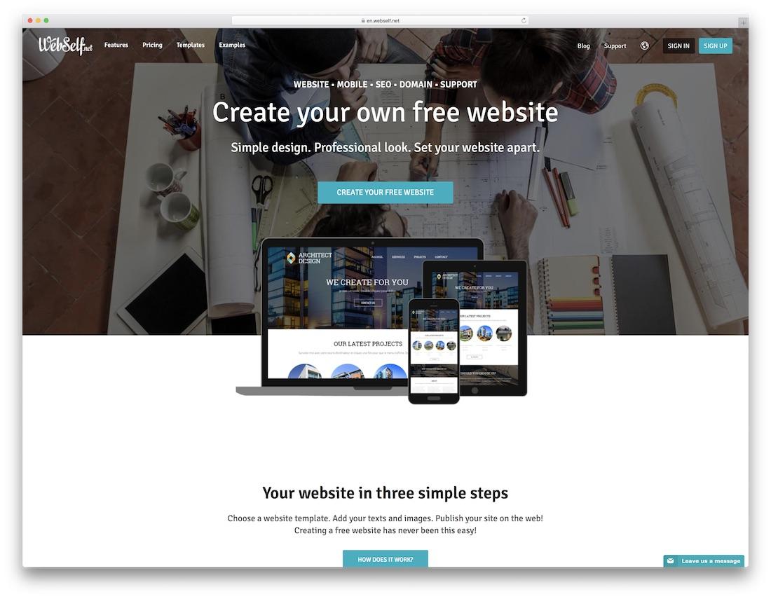 webself free responsive website builder