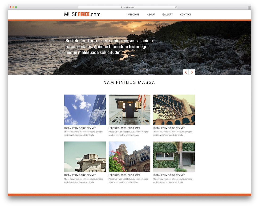 website design free adobe muse template