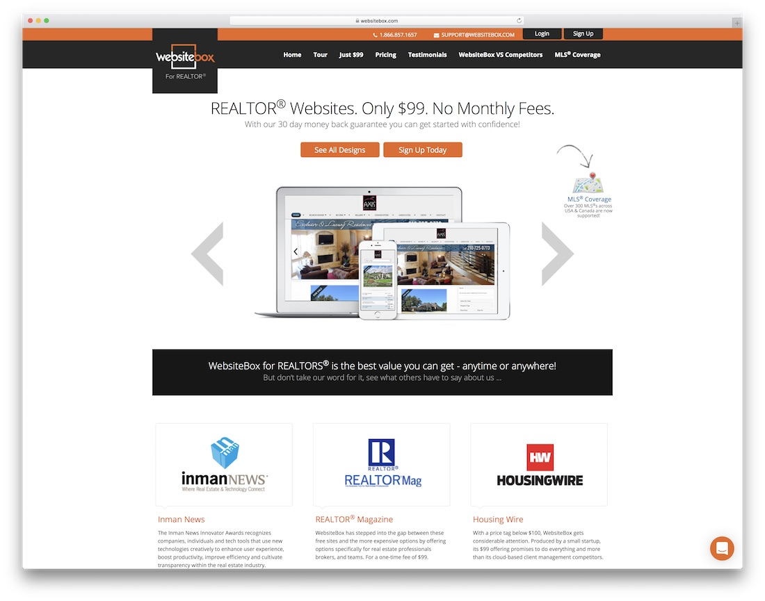 websitebox real estate agent website builder