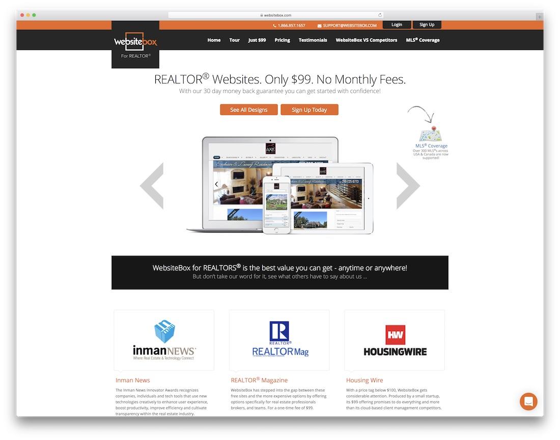 websitebox real estate agent website builder