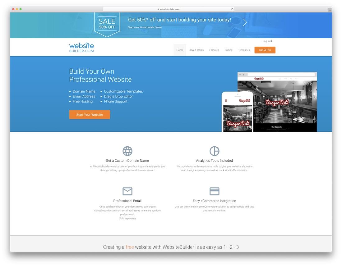 websitebuilder free one page website builder