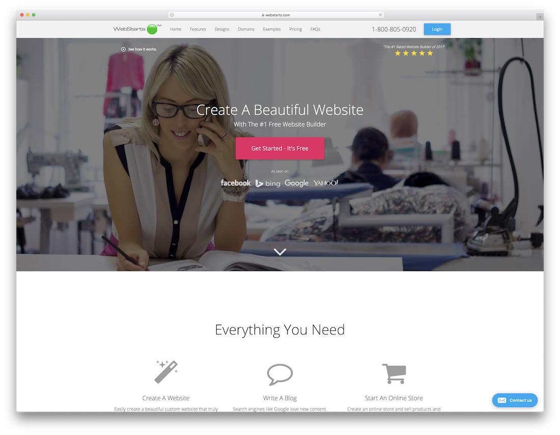 webstarts free one page website builder