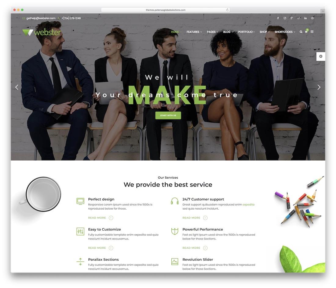 webster business website template