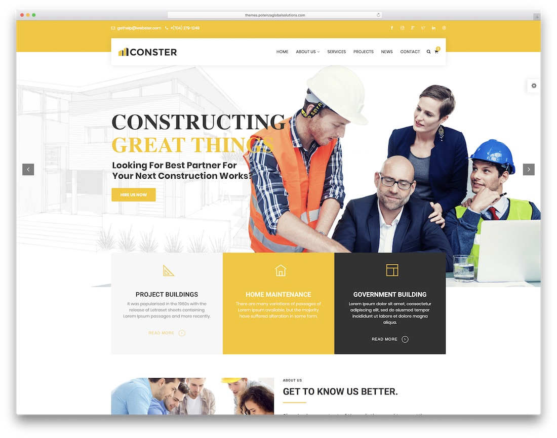 webster html construction company template