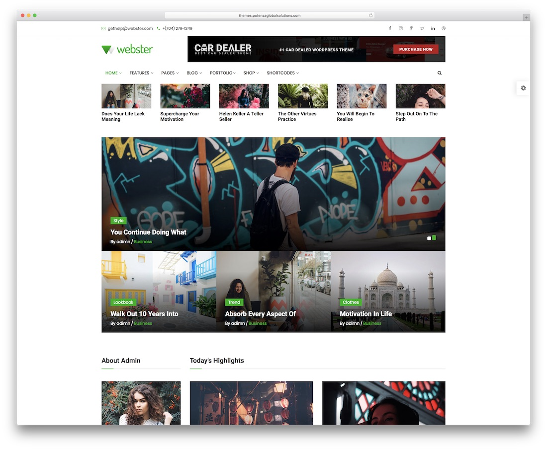 webster news website template