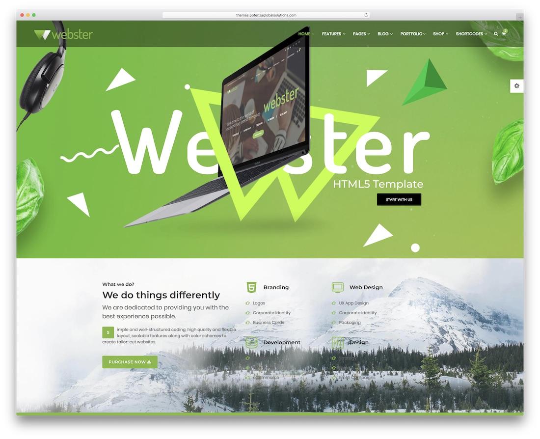 webster responsive bootstrap business website template