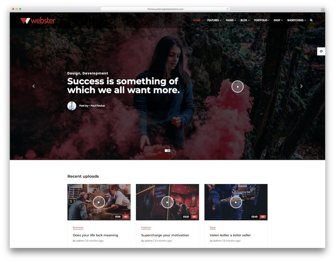 webster video website template