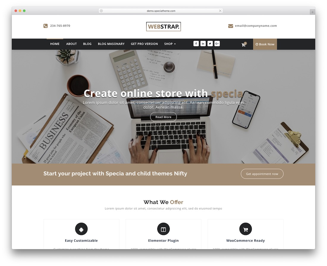 webstrap free wordpress theme