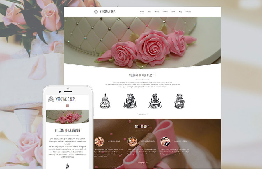 Wedding Cake Responsive Moto CMS 3 Template