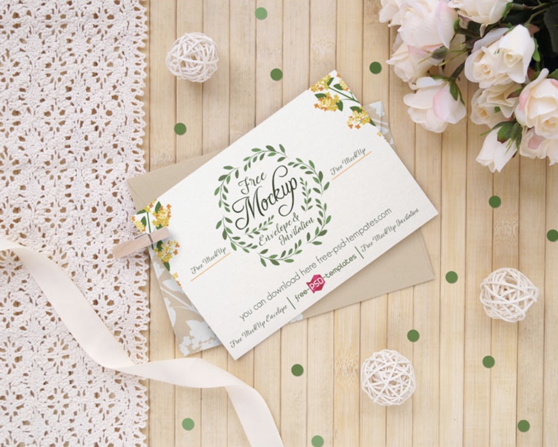 wedding invitation card mockup free psd