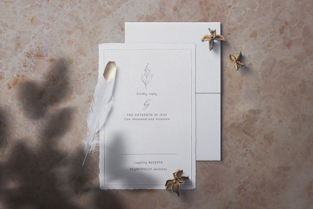 wedding invitation card mockup psd template