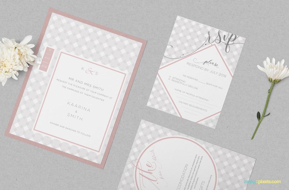 wedding invitation card psd mockup
