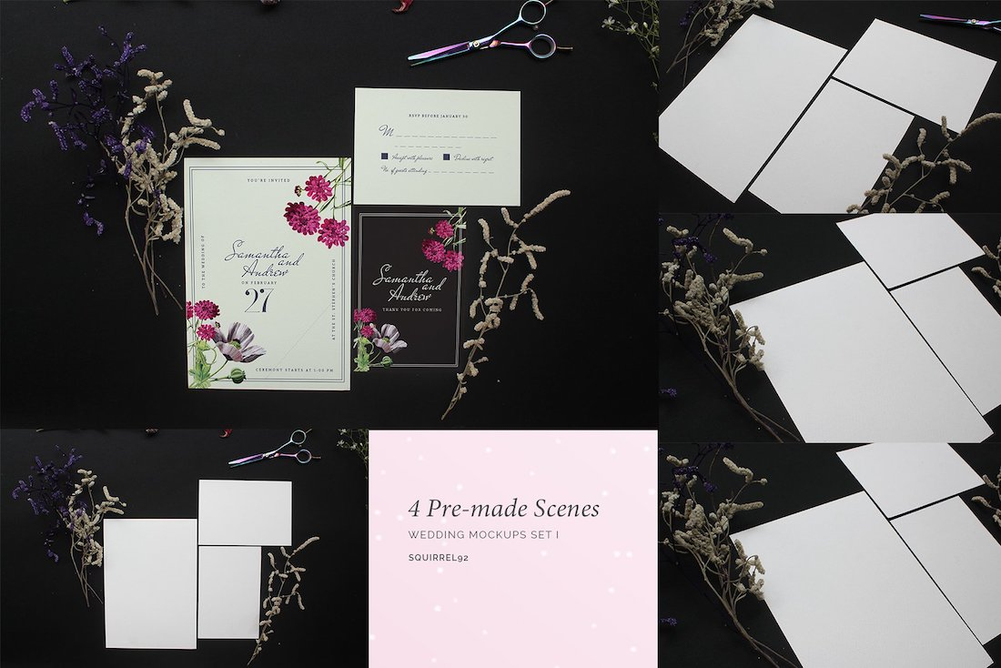 wedding invitation mockup set