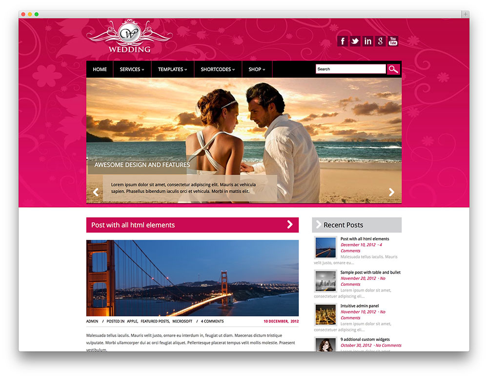 Wedding - free premium wordpress theme