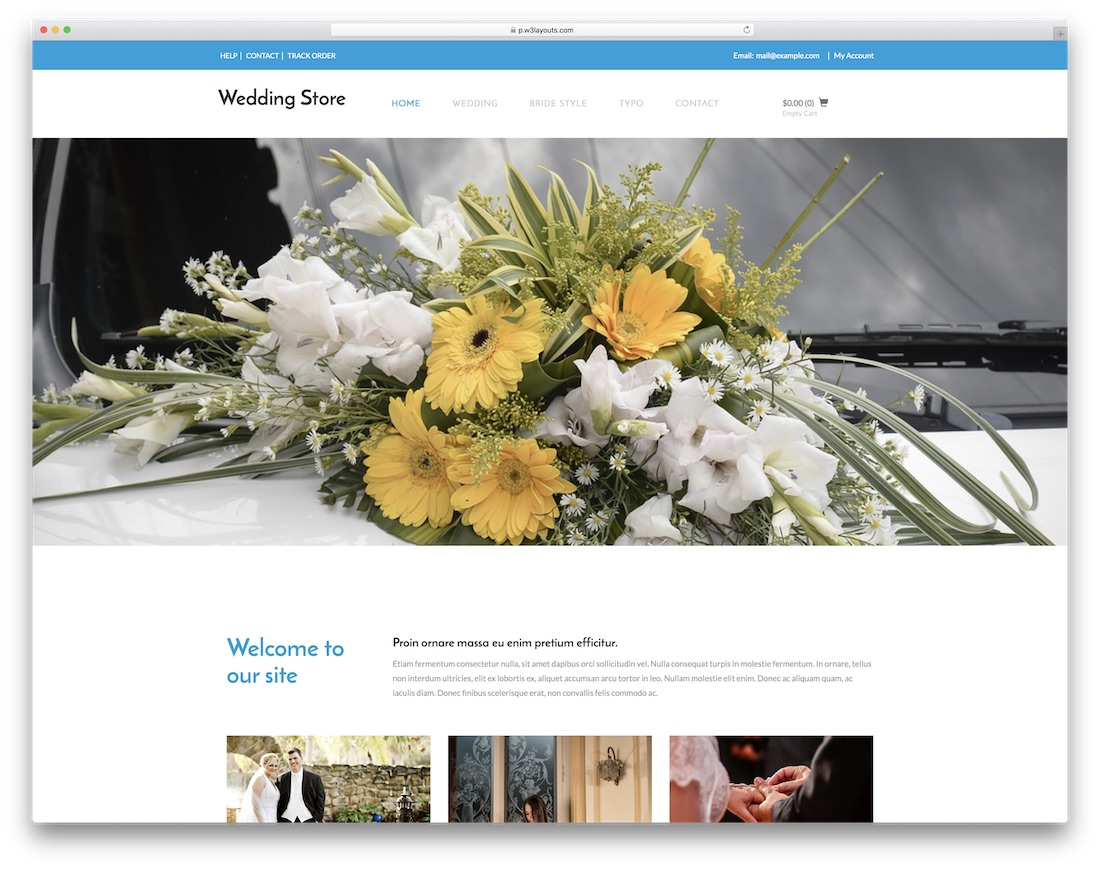 wedding store free bootstrap ecommerce website template