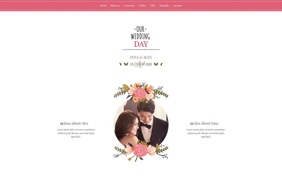 wedding tale HTML wedding website template