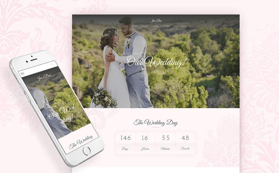 Jen+Ben - One Page Wedding WordPress Theme