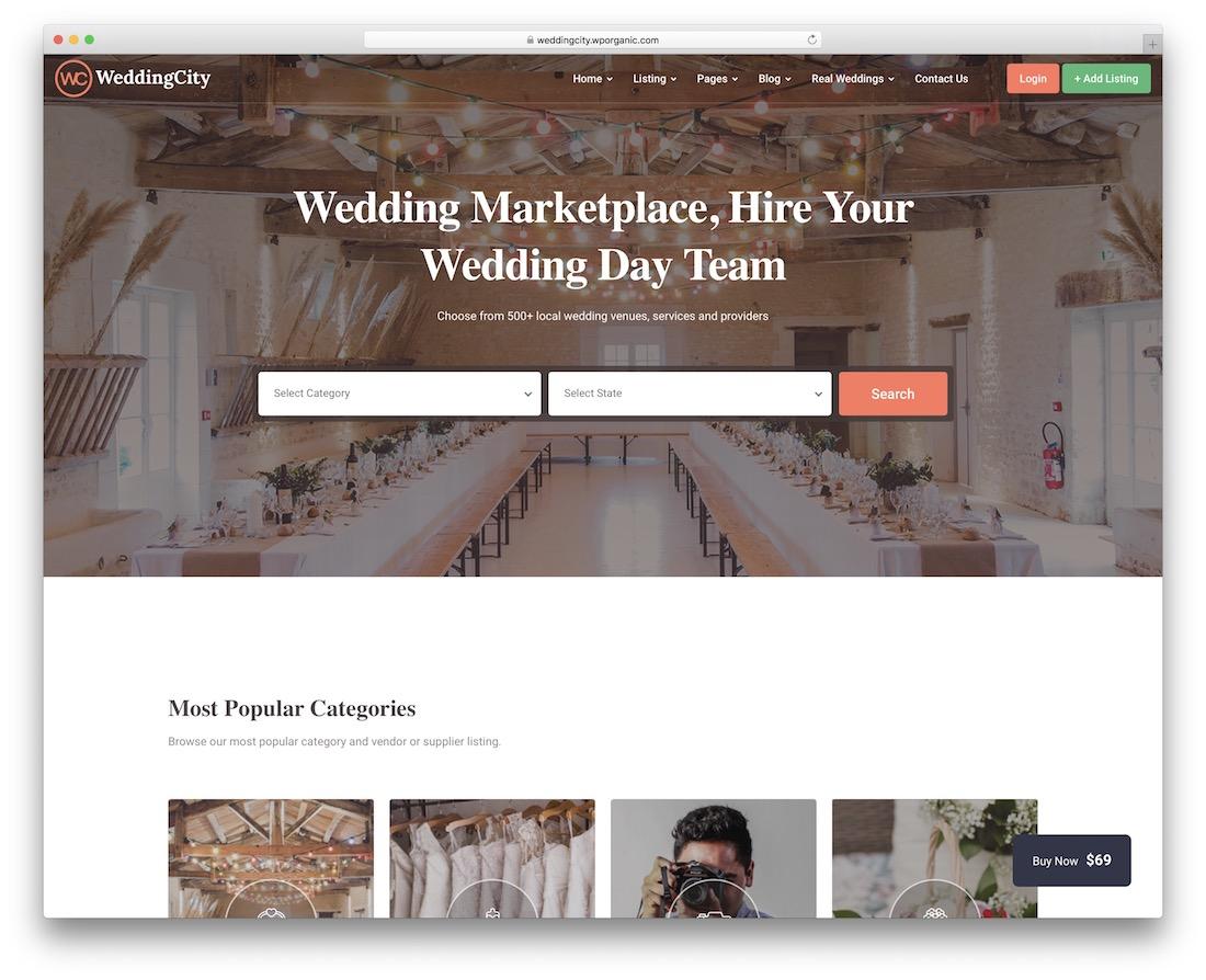 weddingcity wordpress classifieds directory theme
