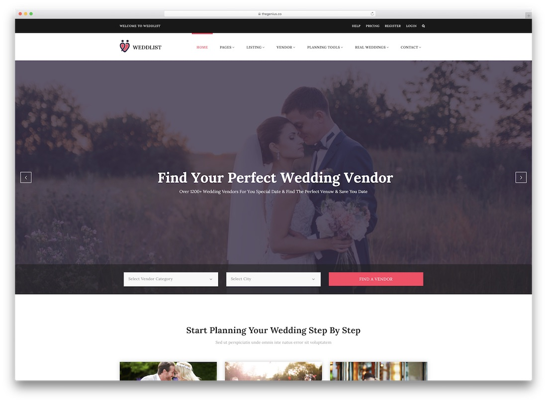 weddlist directory website template
