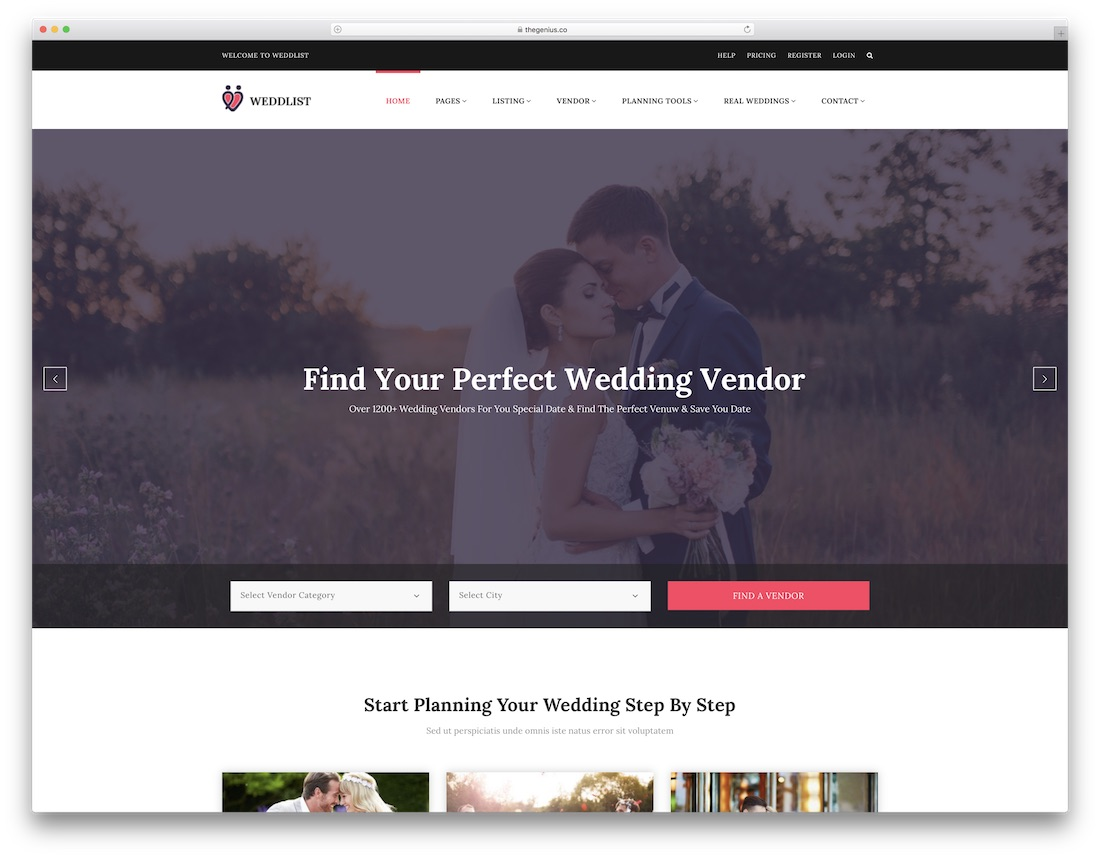 weddlist html wedding website template