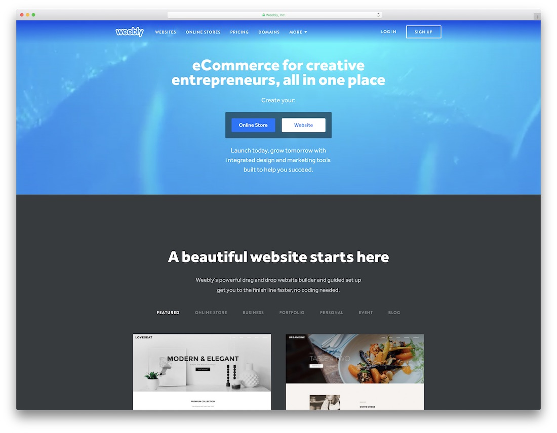 weebly free one page website builder