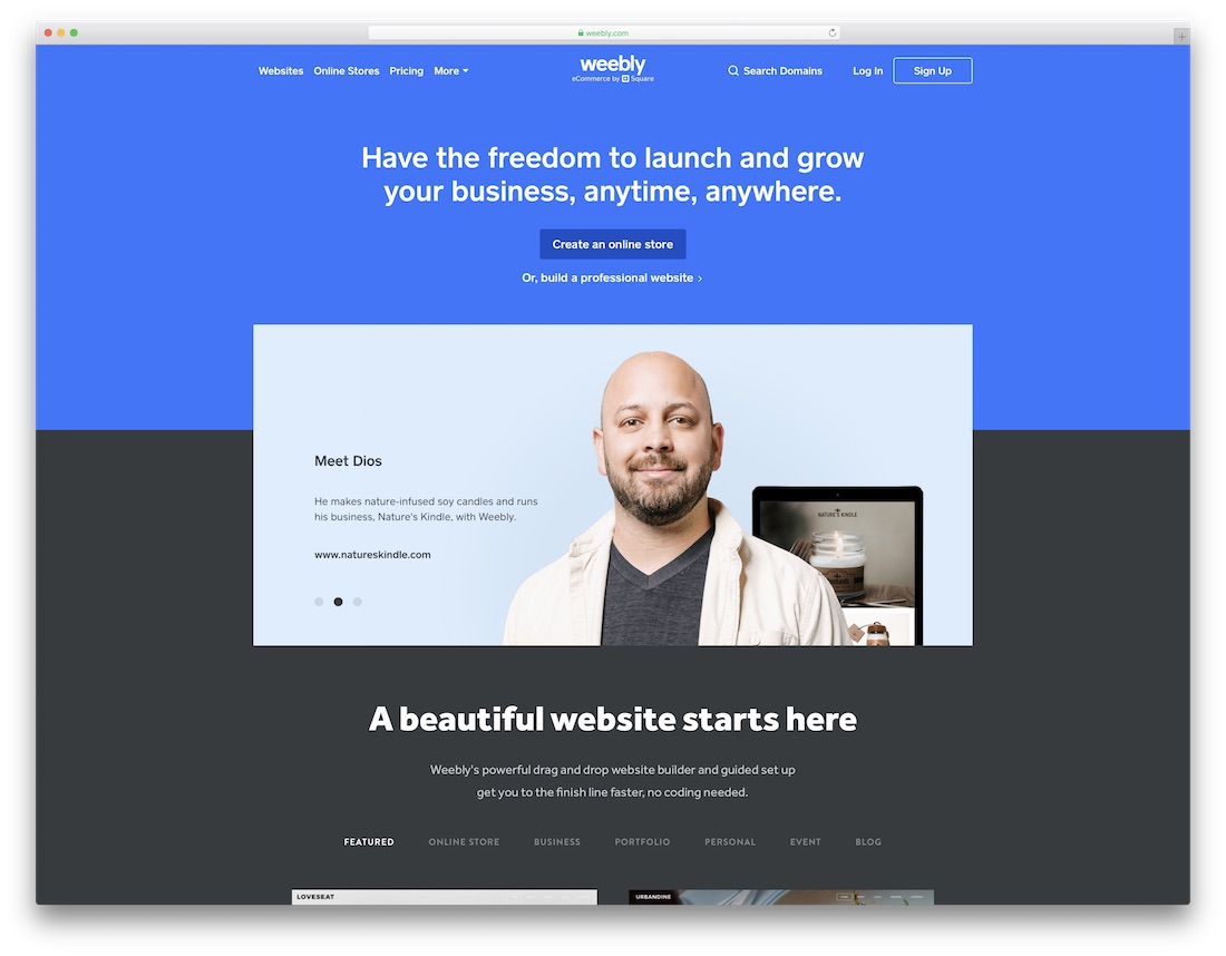 weebly insurance website builder