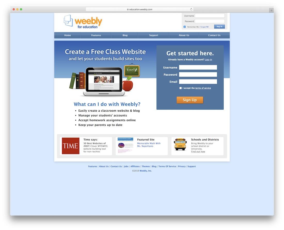 weebly school and teacher website builder