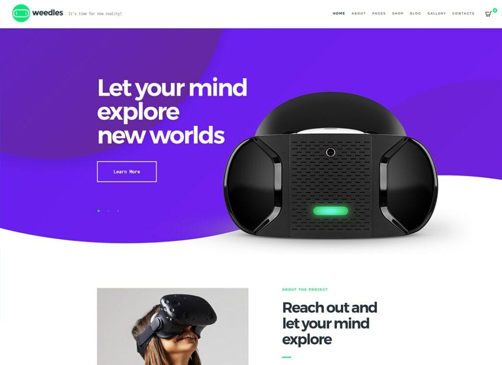 Weedles   Virtual Reality Landing Page & Store WordPress Theme