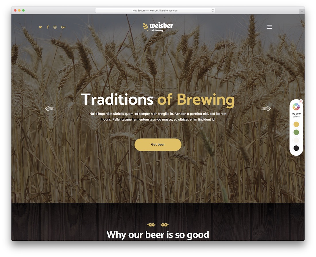 weisber brewery website template
