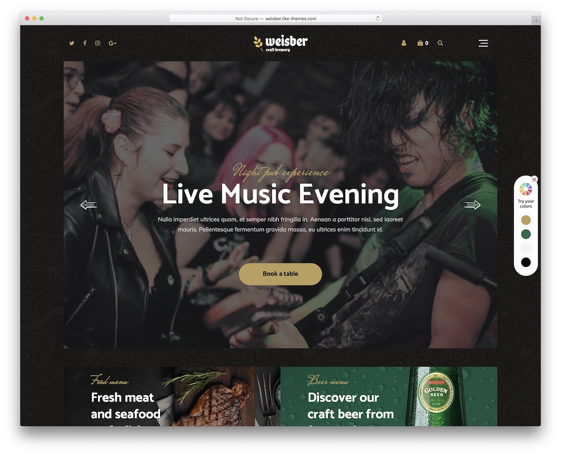 weisber wordpress theme for bars pubs