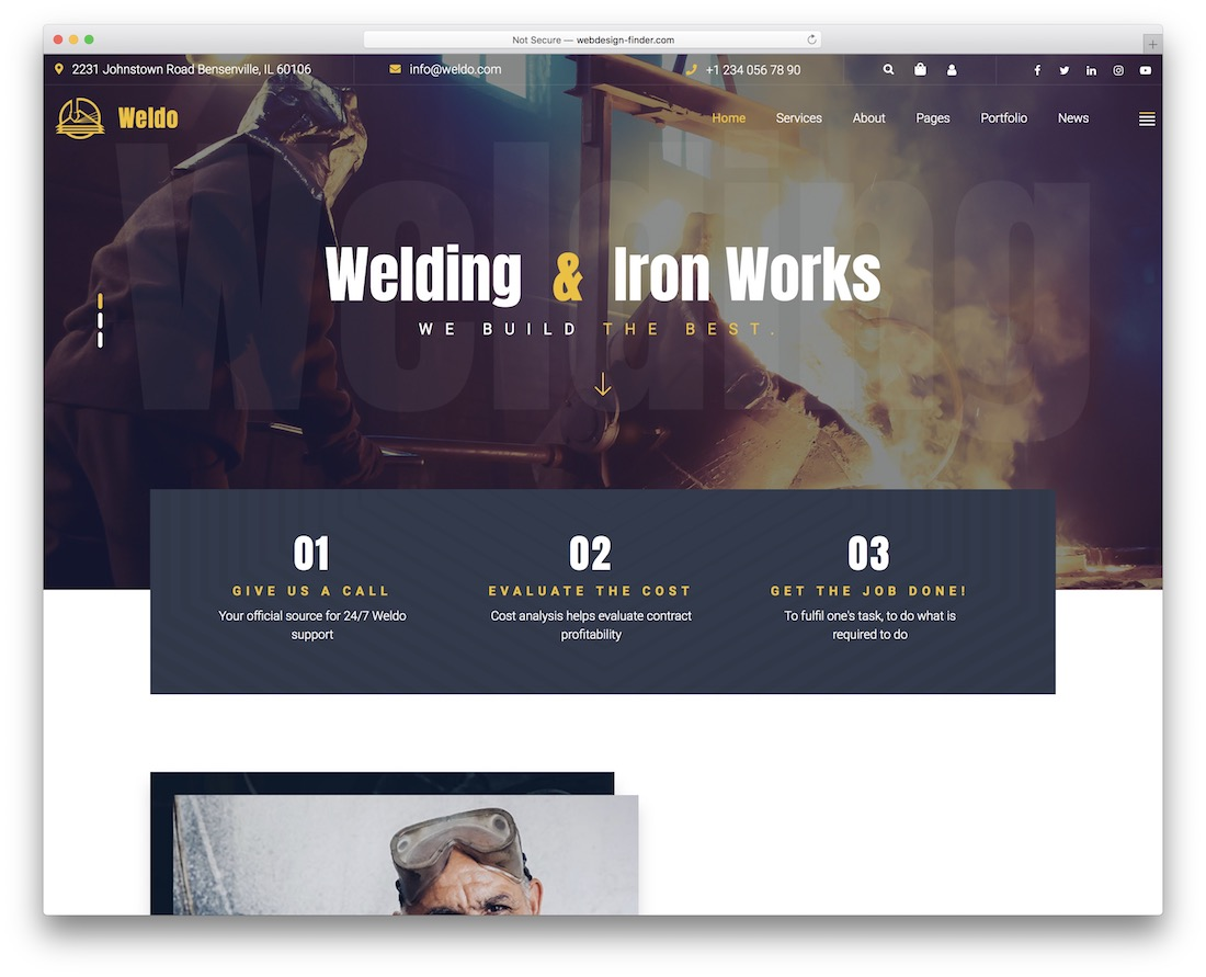 weldo welding wordpress theme