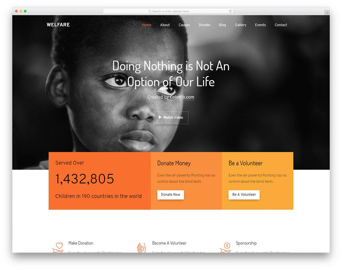 Скачать бесплатно html шаблон Welfare