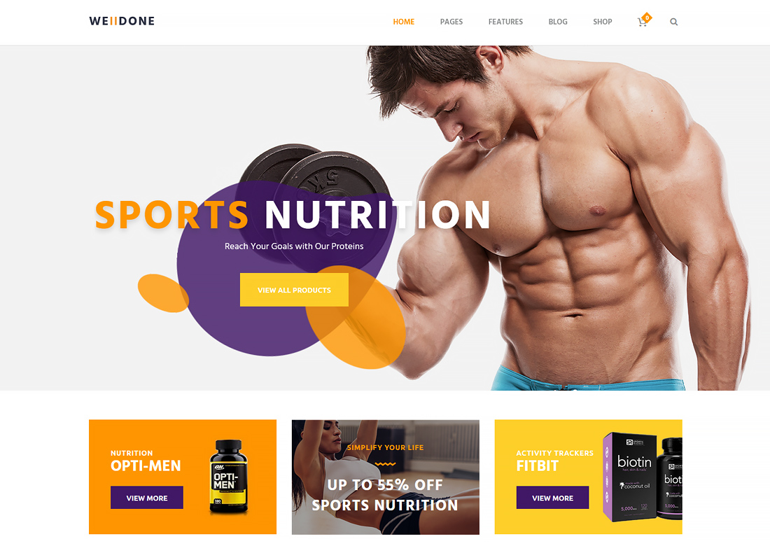 Welldone - Sports & Fitness Nutrition and Supplements Store WordPress Theme