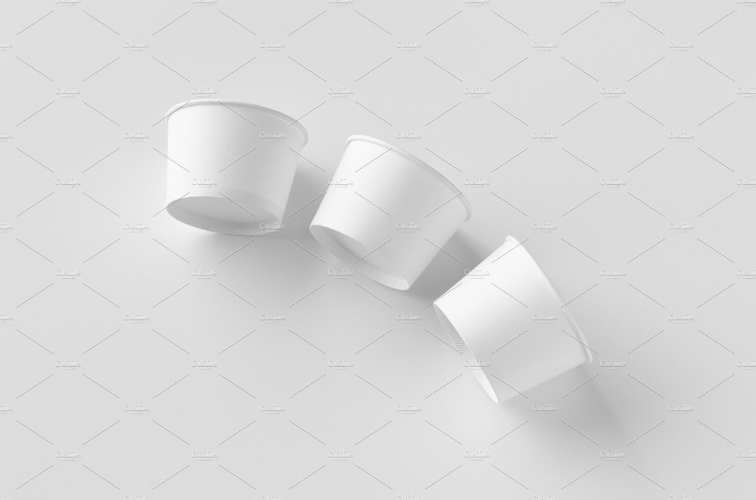 white ice cream paper cup mockup