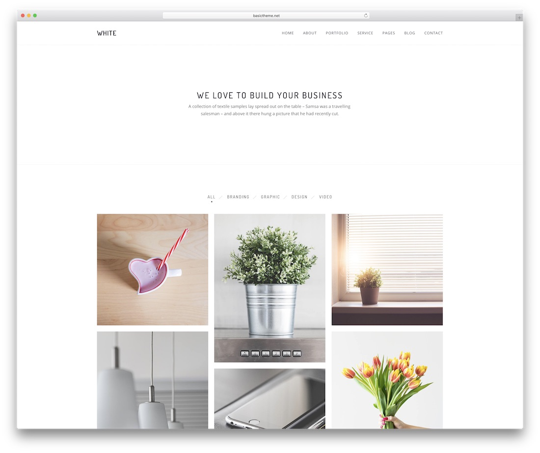 white simple website template