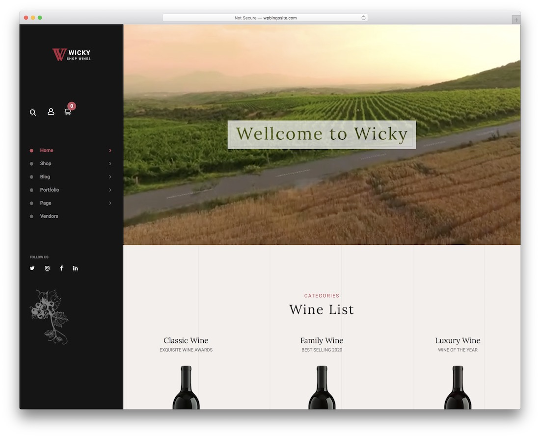 wicky wine wordpress theme