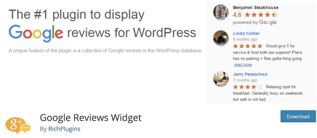 widget google reviews wordpress plugin