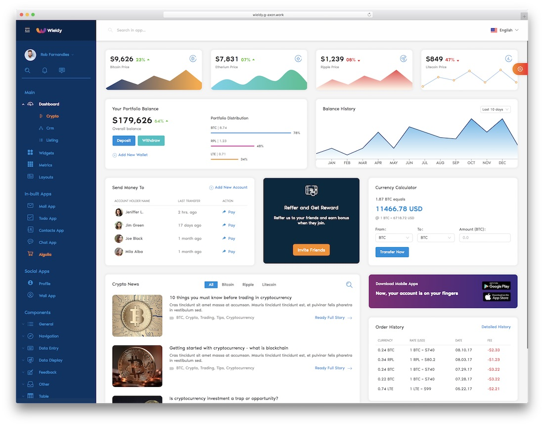 wieldy react dashboard template