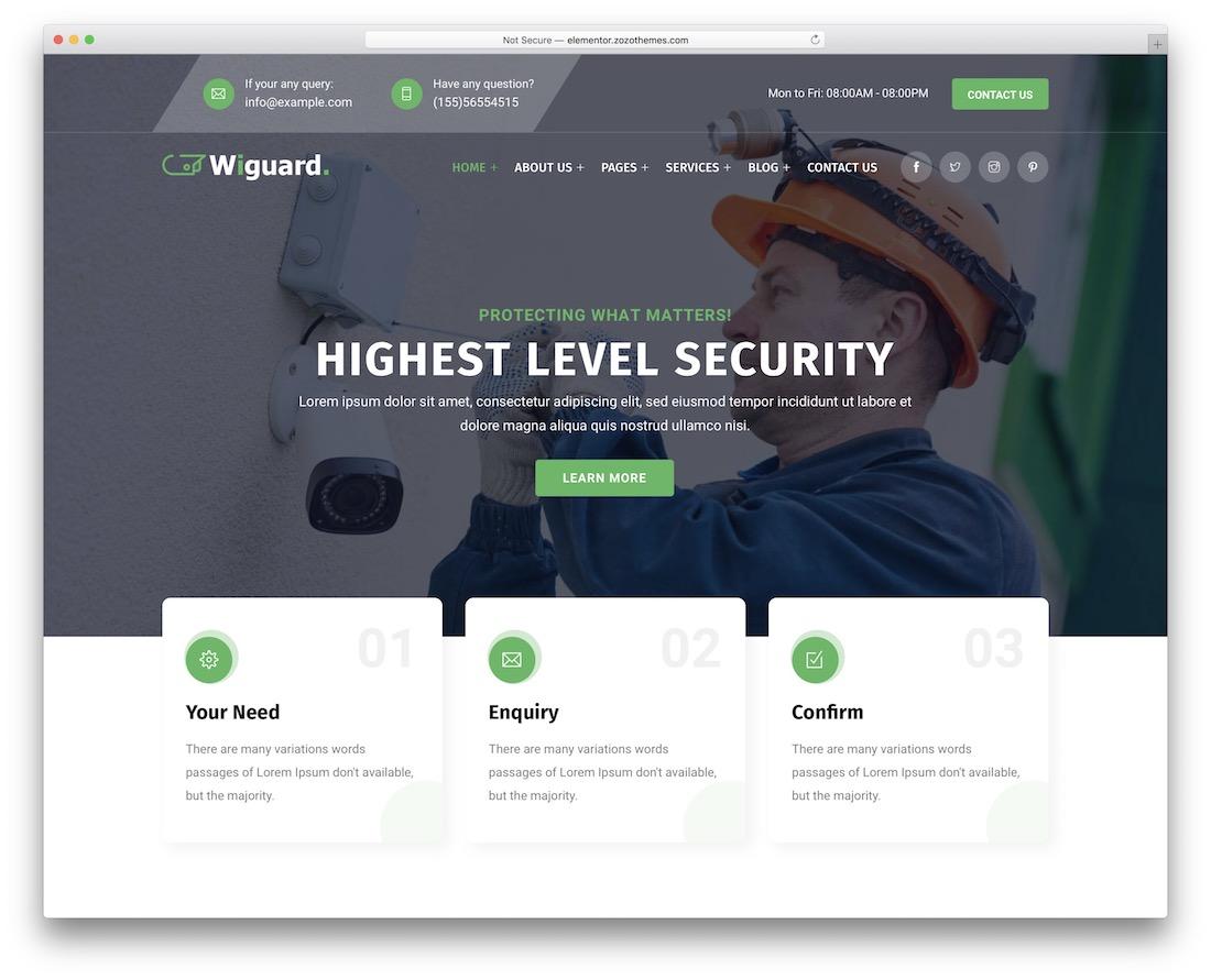 wiguard security service wordpress theme