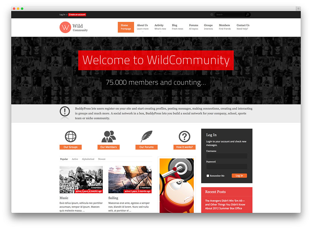 wild community WordPress theme