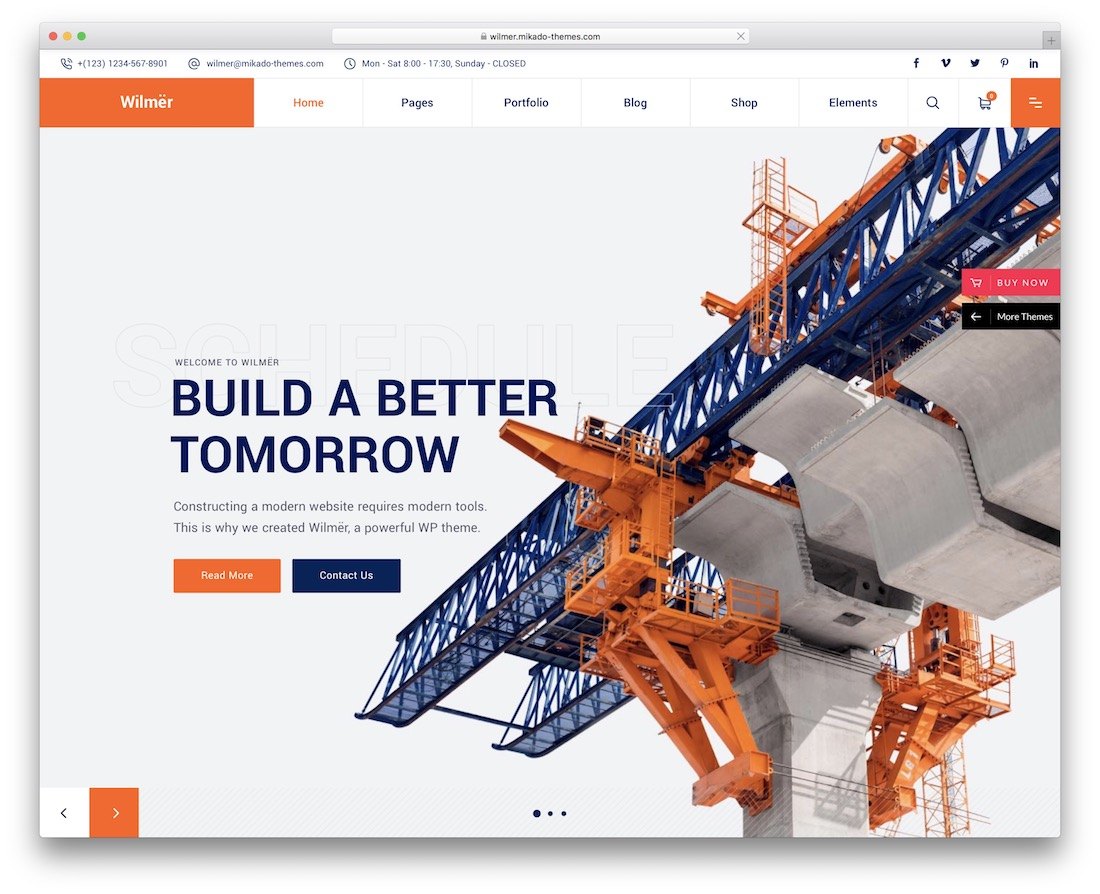 wilmer construction company wordpress theme