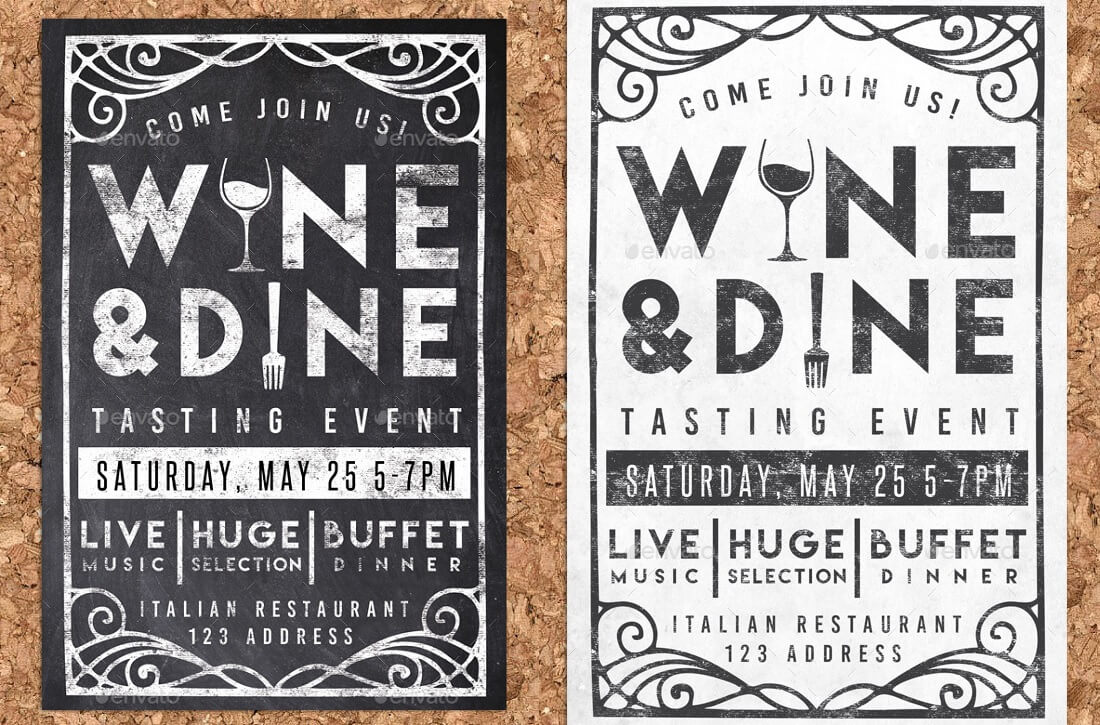 wine dine event chalk flyer party invite