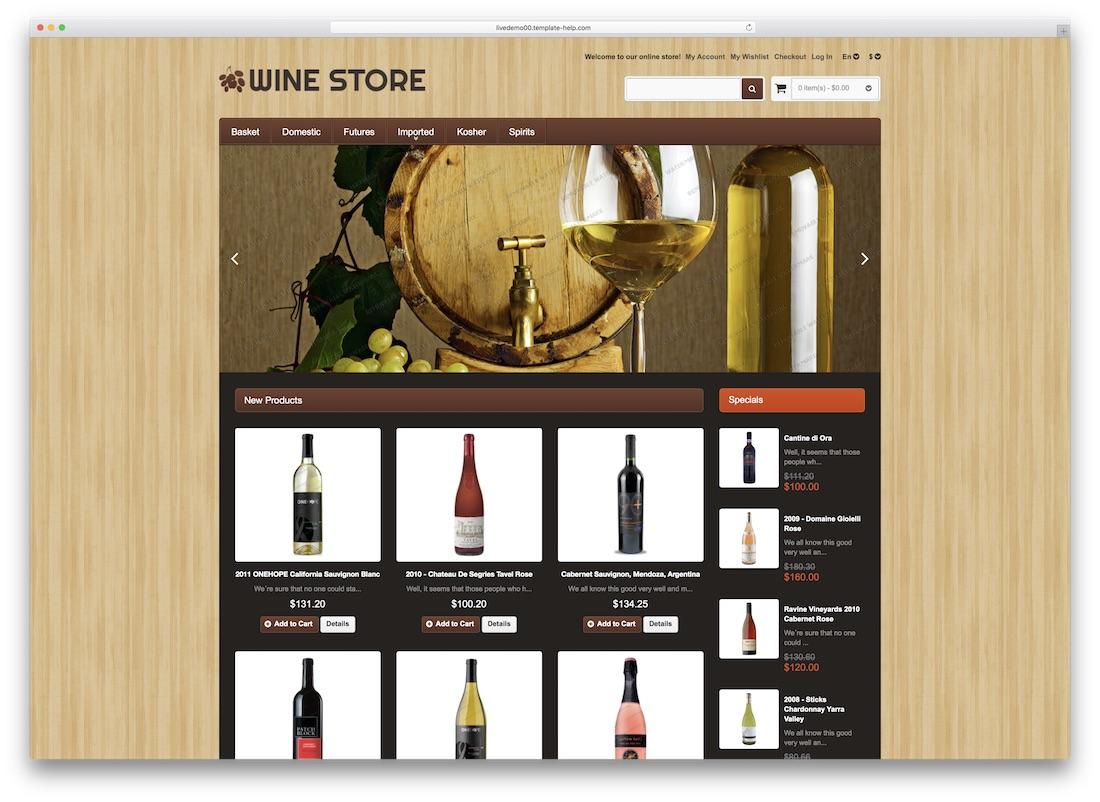 wine store magento template