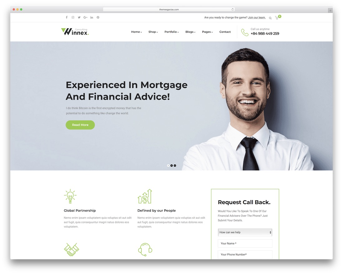 winnex wordpress business theme